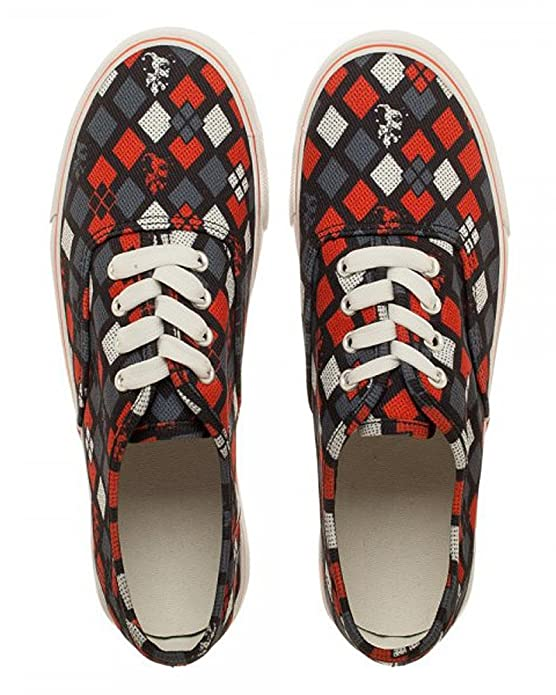 Amazon.com | DC Comics Harley Quinn Halftone Black/Red Womens Lo Pro Shoes | Fashion Sneakers