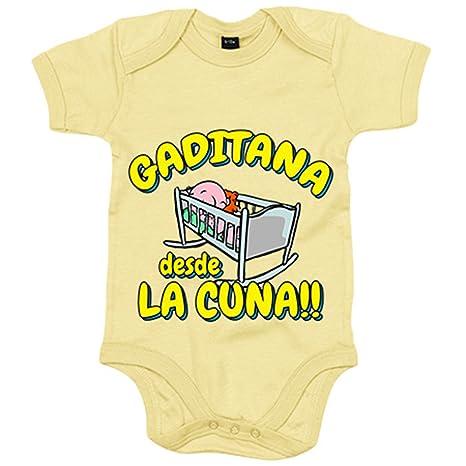 Body bebé Gaditana desde la cuna Cádiz fútbol - Amarillo, 6-12 meses