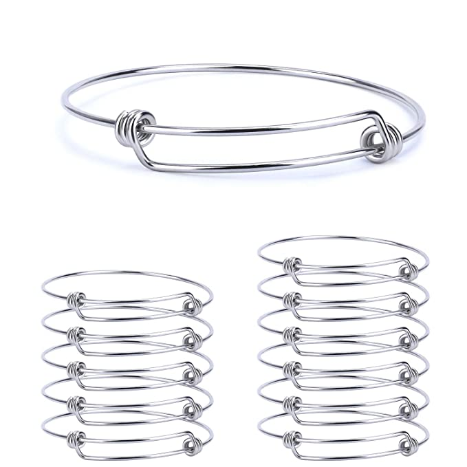 Wholesale 12 PCS Adjustable Expandable Wire Blank Stainless Steel Bangle Bracelet for Jewelry Making 2.4 inches