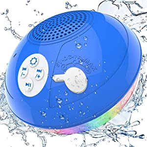 Bluetooth Pool Speakers Floatable, IPX7 Waterproof Portable Wireless Shower Speaker with Colorful Lights, Built-in Mic Hot Tub Speaker with Loud Stereo Sound for Pool Beach Home Party Travel Outdoors