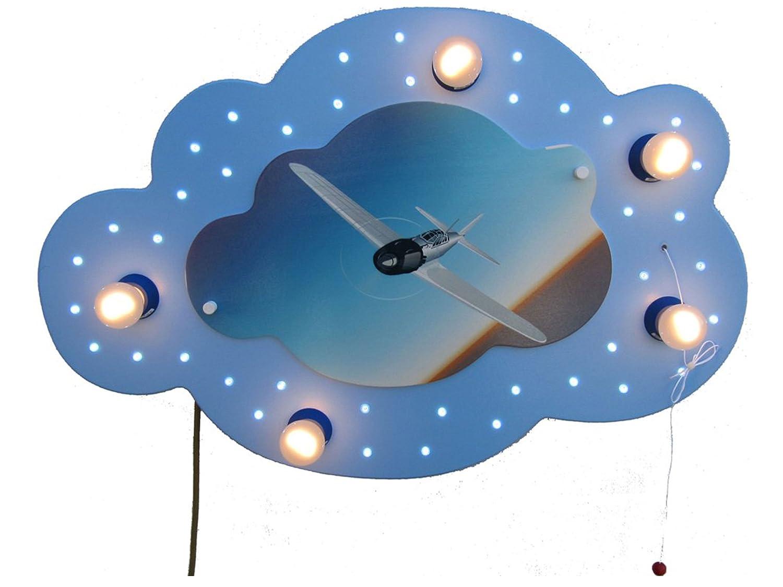 LED Kinderleuchte Wolke Flugzeug blau Elobra