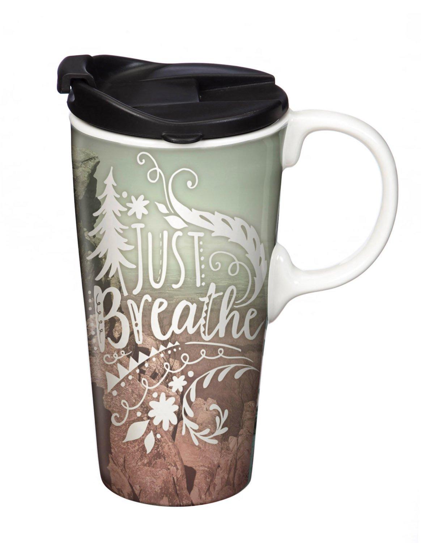 Cypress Home Breathe Ceramic Travel Coffee Mug with Gift Box, 17 ounces