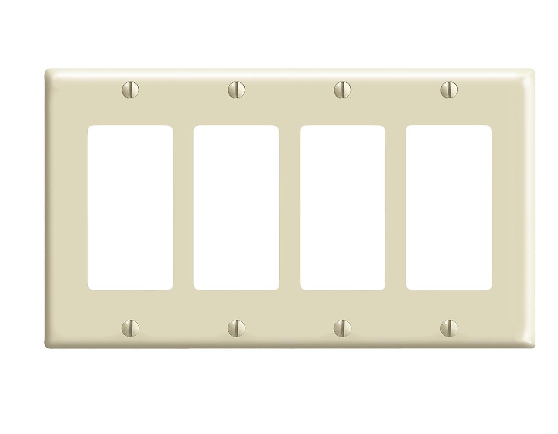 Leviton 80412-I 4-Gang Decora/GFCI Device Decora Wallplate, Standard Size, Thermoset, Device Mount, Ivory