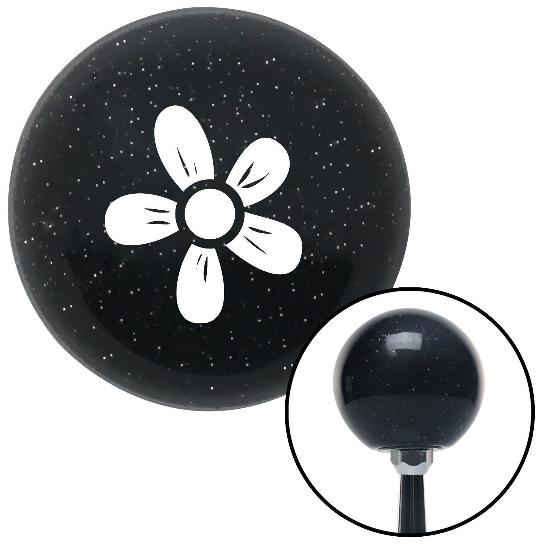 American Shifter 73281 Black Metal Flake Shift Knob with M16 x 1.5 Insert White Flower - Daisy