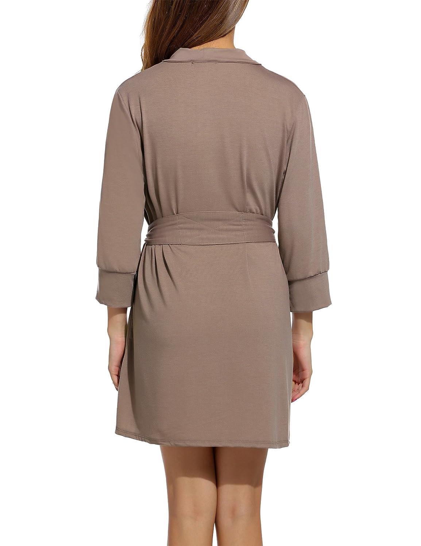 HOTOUCH Donna Vestaglie Pigiama Kimono Cotone Scollo a V Camice da Notte Corto da Notte S-XXL