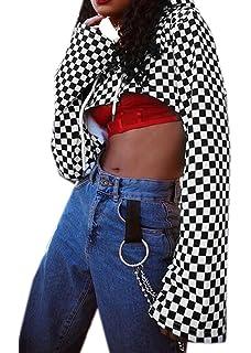 3fb4a276834 ARTFFEL Womens Long Sleeve Checkerboard Hoodie Crop Top Pullover Hoodies  Sweatshirt