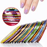 CLAVUZ 30Pcs Mixed Colors Rolls Striping Tape Line Nail Art Tips Nail Line Decoration Sticker