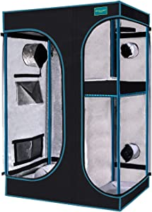 "OPULENT SYSTEMS 2-in-1 Grow Tent 36""x24""x53"" Mylar Reflective Water-Resister Hydroponic Growing Tent with Observation Window, Removable Floor Tray and Tool Bag for Indoor Plant Growing Systems"
