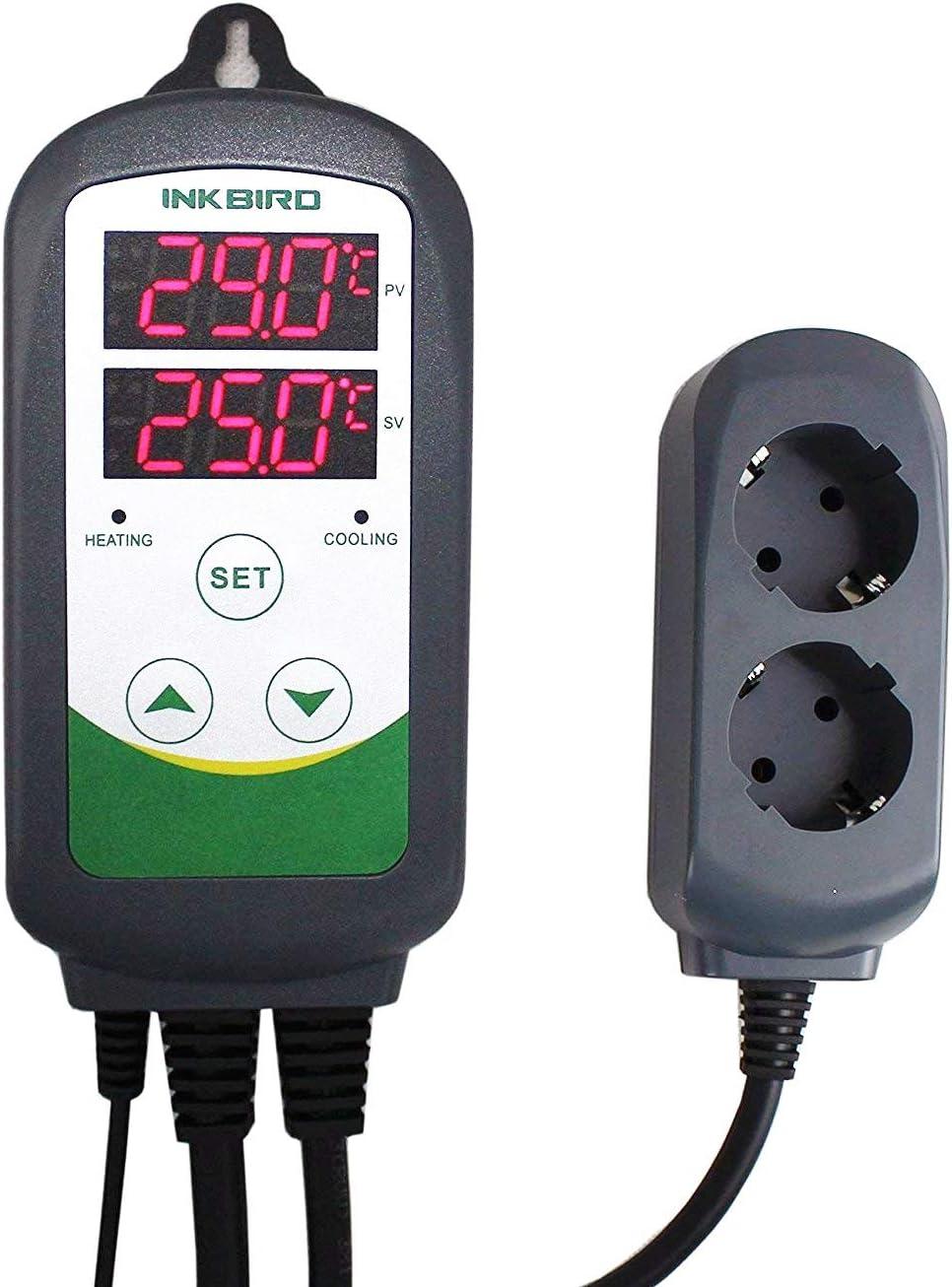 Inkbird ITC-308 Doble Rele 220v Digital Termostato con Sonda, Controlador de Temperatura Refrigeración y Calefaccion Regulador para Calentador Acuario y Peceras, Bomba de Agua, Terrario Incubadoras Re
