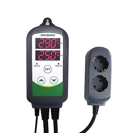 Inkbird ITC-308 Doble Rele 220v Digital Termostato con Sonda, Controlador de Temperatura Refrigeración y Calefaccion Regulador para Calentador Acuario ...