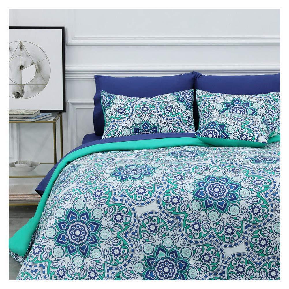 8 Piece Bed-in-a-Bag Comforter Set Includes 1 Comforter, 1 Decorative Pillows, 2 Shams, 4 Piece Sheet Set All-Season Printed Bedding Cotton Comforter Set Hypoallergenic (Tilework, Full)