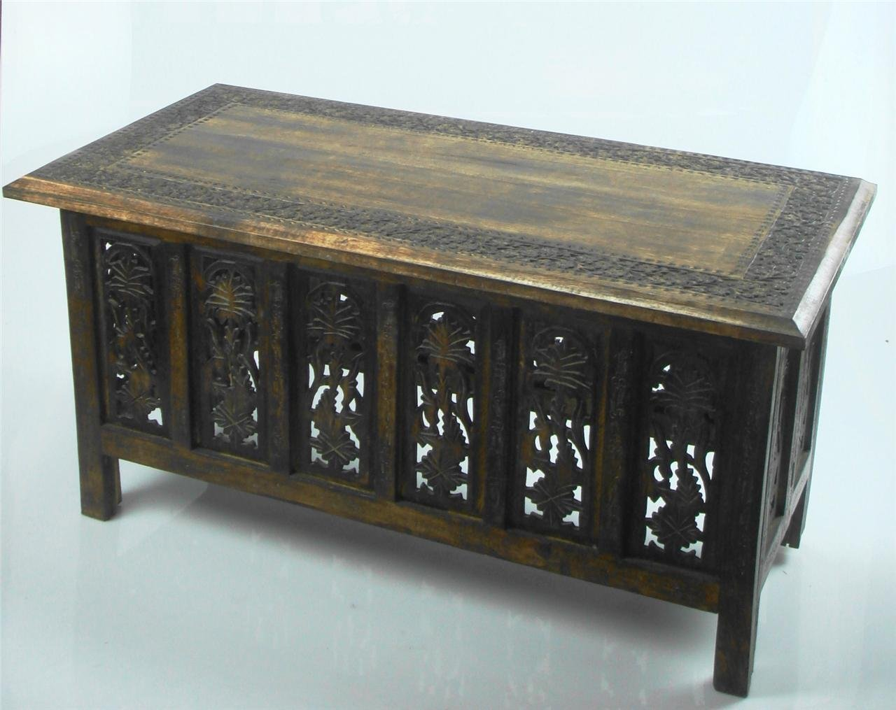 Beautiful Brown White Hand Carved Indian Wooden Coffee Table Side Tables 91x46cm Topfurnishing Ltd VB-6CAG-O19Q