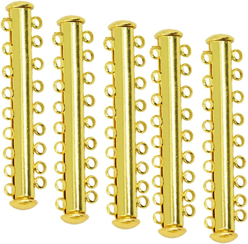 BEADNOVA 10pcs Gold Plated Multi Strand Slide Magnetic Tube Lock Clasp//Connectors for Jewelry Necklace Bracelet Making Findings