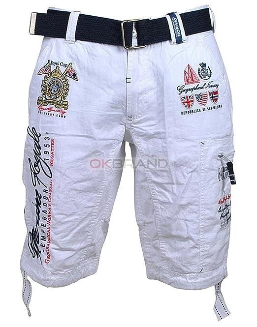 Geographical Norway - Pantalón Corto - para Hombre Blanco Blanco: Amazon.es: Ropa y accesorios