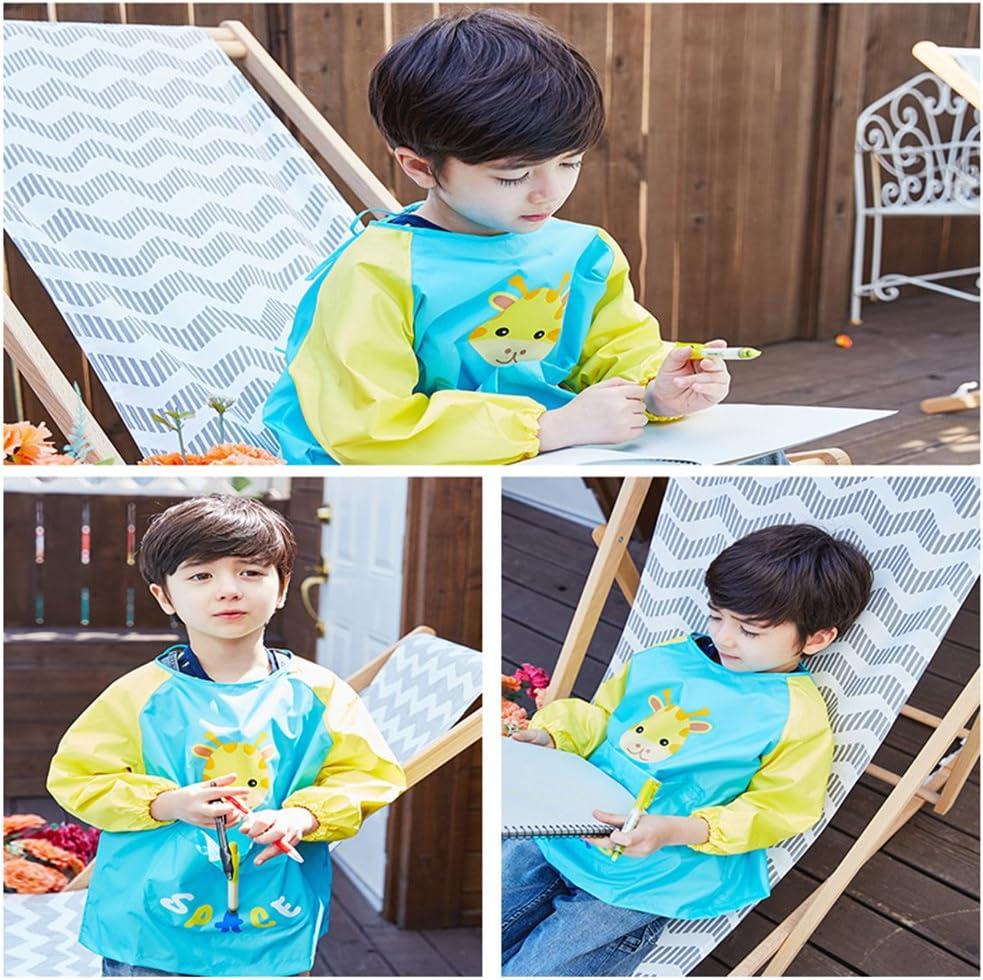 OLizee Long Sleeve Waterproof Art Smock with Front Pocket Cartoon Giraffe Kids Painting Apron Bib for Eating Green L