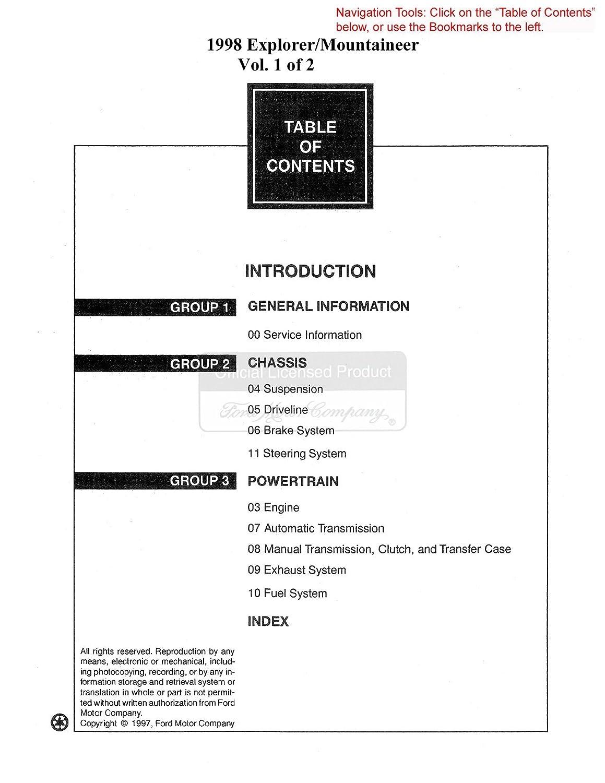 Amazon.com: bishko automotive literature 1998 Ford Explorer Mountaineer  Shop Service Repair Manual Book Engine Wiring OEM: Automotive