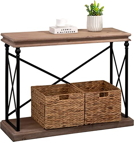 Glitzhome Industrial Entryway Table with Storage 2-Tier Rustic Console Table Farmhouse Sofa Side Table with Open Shelf Accent Table with Metal Frame for Living Room Hallway, 42 Inch