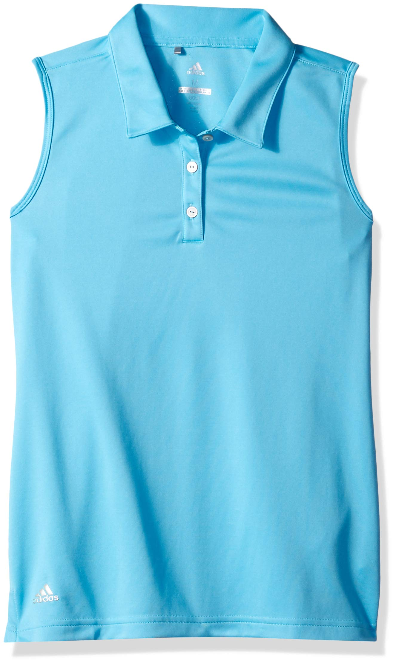 adidas Golf Tournament Sleeveless Polo, Bright Cyan, Large by adidas