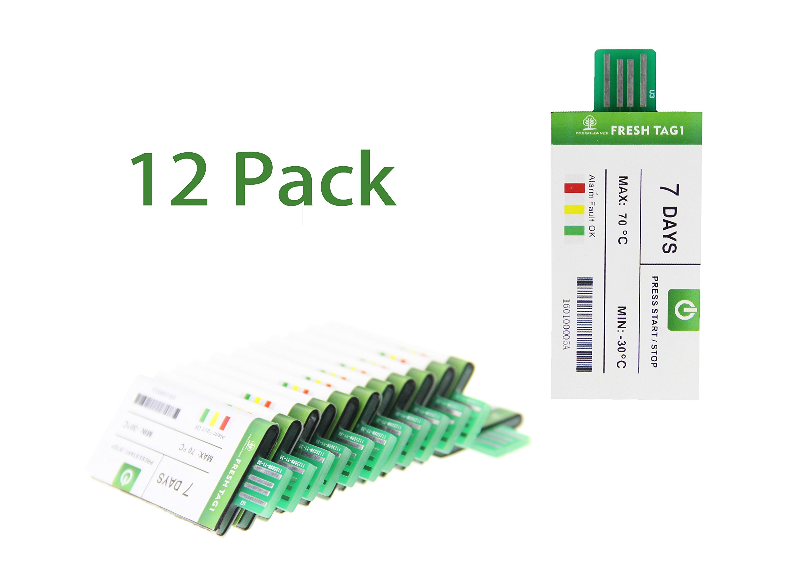 FRESHLIANCE -[12 Pack] Disposable Waterproof USB Temperature Data Logger Single-Use PDF Recorder for The Cold Chain- 7 Days Record Duration