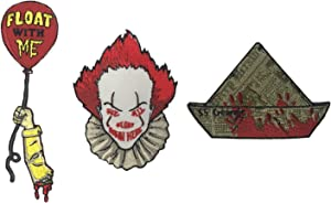 Hat Shark Float Balloon, Scary Clown Face, SS Georgie Set of 3 Die Cut Iron On Patch Applique
