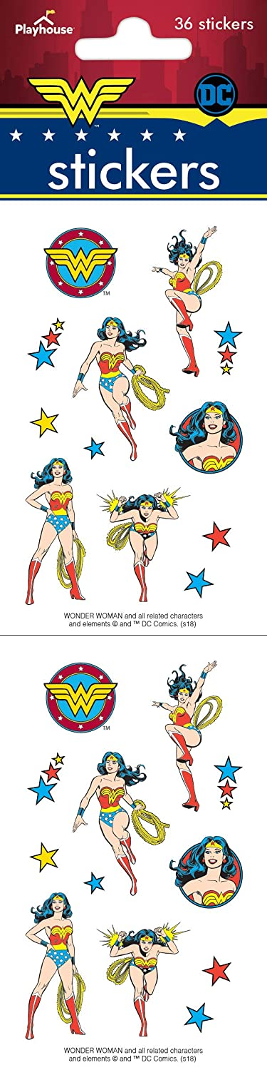 Playhouse DC Comics Wonder Woman Pack of Three Perforated Sticker Sheets Paper House