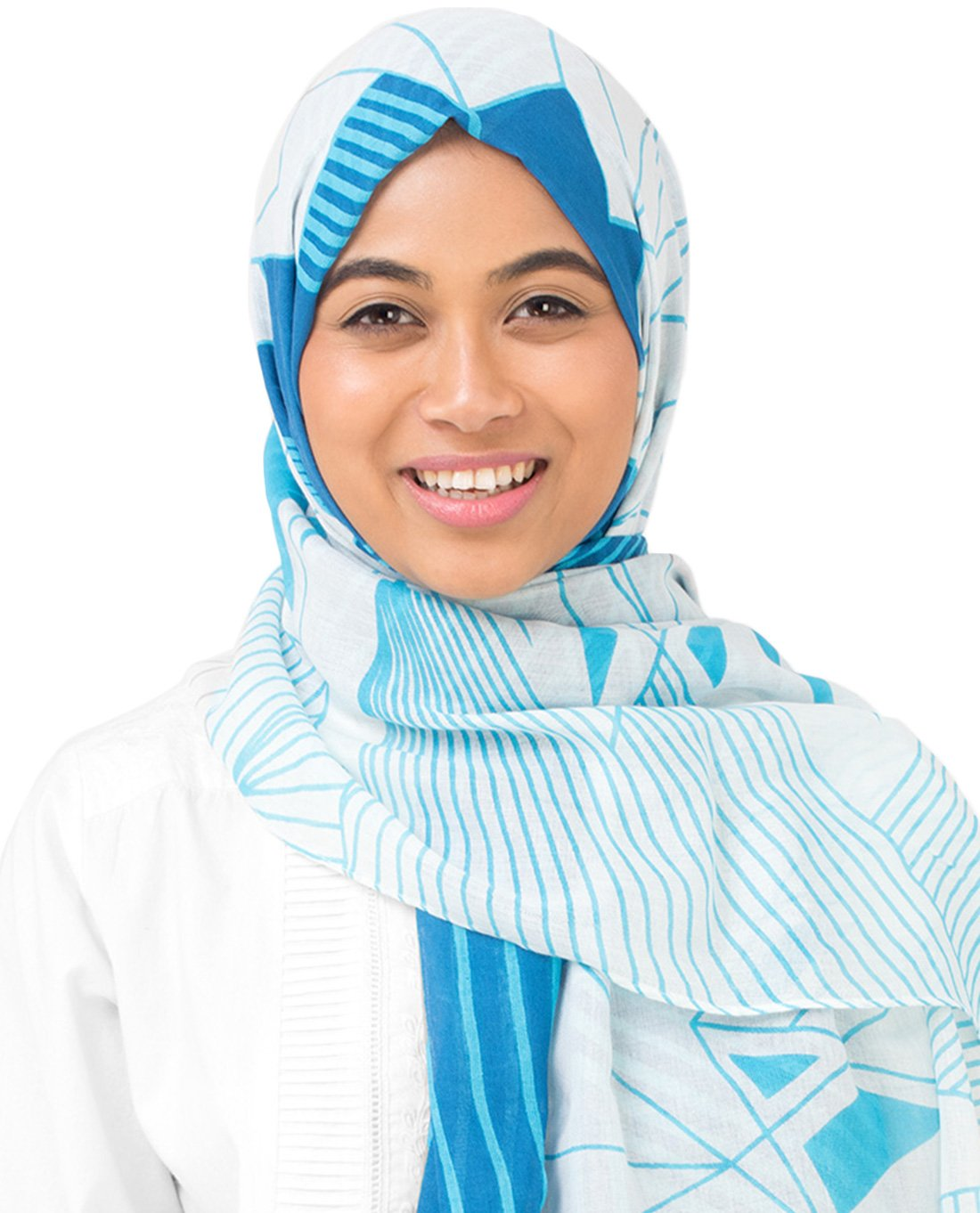 Silk Route New Imperial Blue & Winter Sky Blue Contour Viscose Stole Scarf Ladies Wrap Hijab Maxi Size