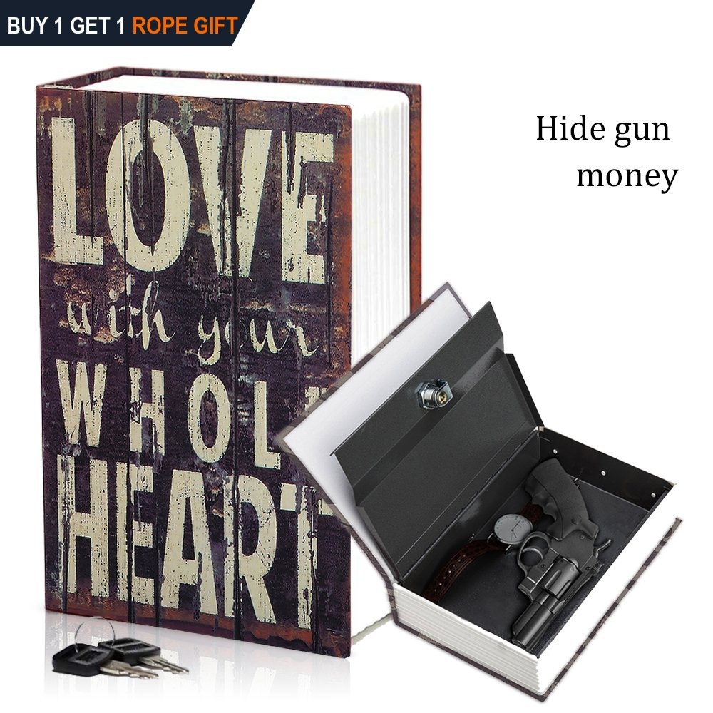 HENGSHENG Dictionary Secret Book Hidden Safe With Key Lock Book Safe Love Style Full Size 9.4 x 6.1 x 2 .2inches