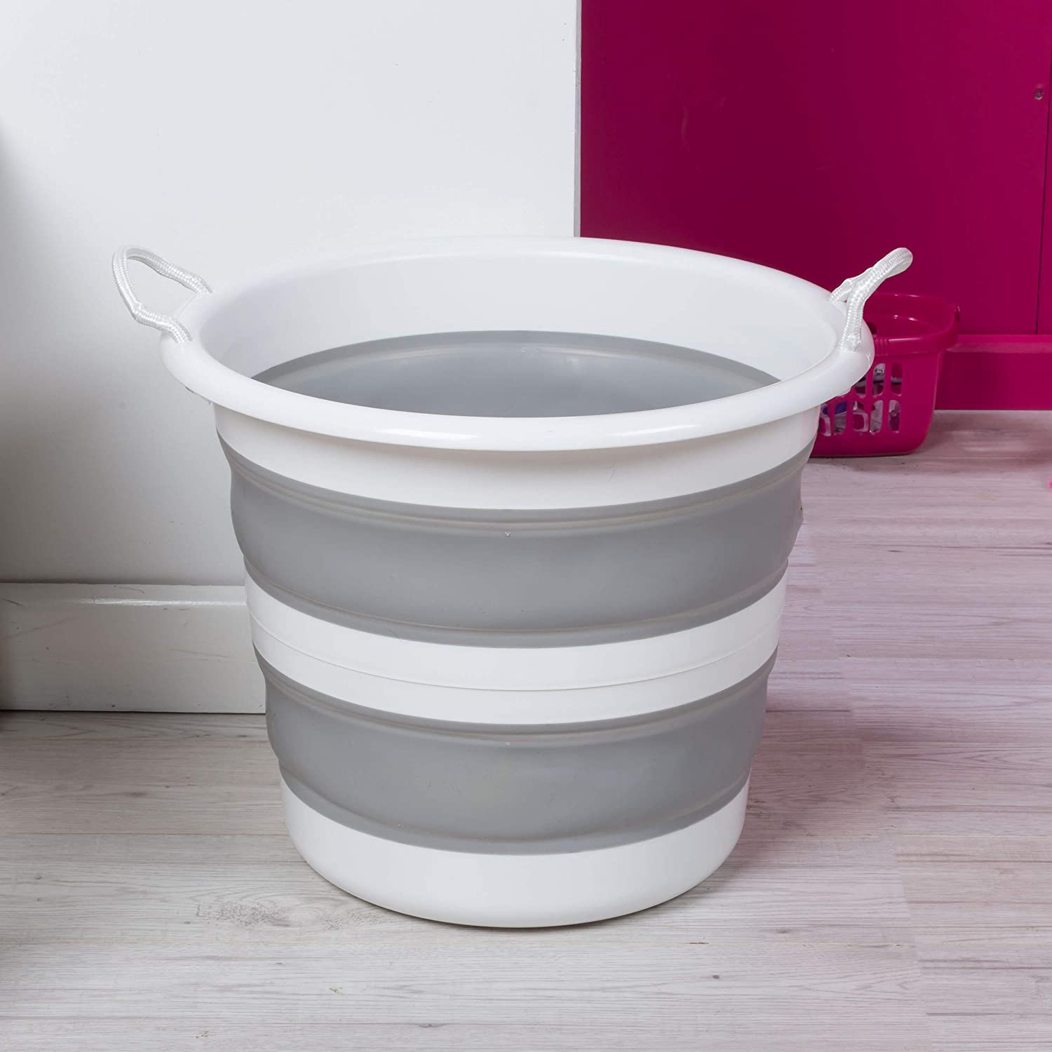 Pink//Grey 30 Litre Kleeneze KL065438PNKEU Collapsible Cleaning Bucket