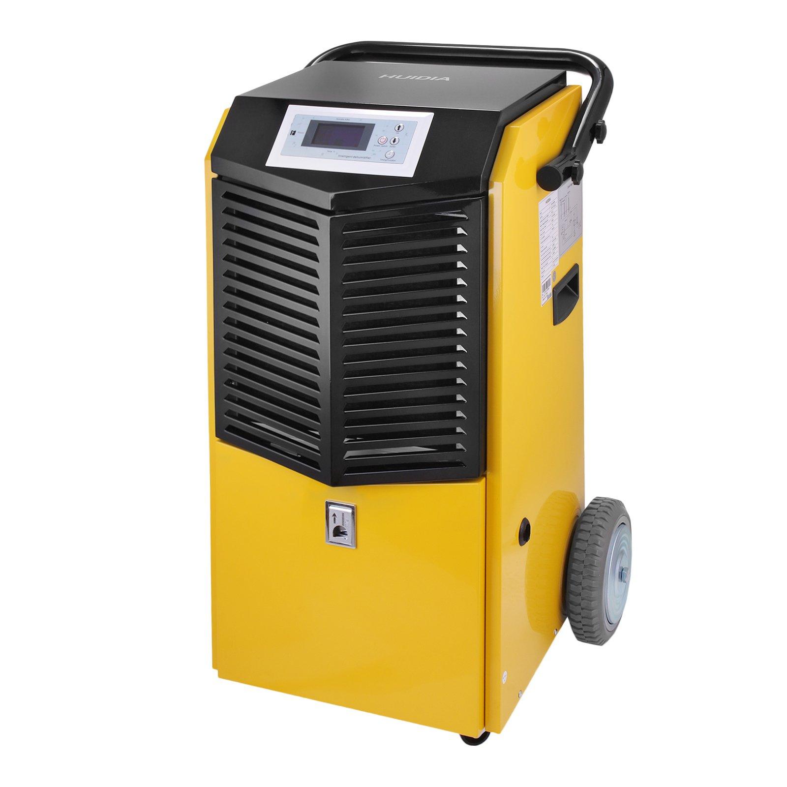 Happybuy Dehumidifier 55L/97 Pint Industrial Dehumidifier R410A/400 g Dehumidifier Electric 4.2MPa Dehumidifier Humidistat lP21 Dehumidifier Large Capacity(Yellow)