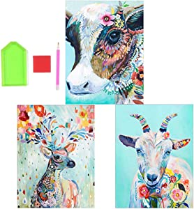 BYPAMCO 3 Pack 5d Diamond Painting Art Full Drill Rhinestone Embroidery Pictures Craft Animals Diamond Paintings Home Wall Decor Paint by Number Kit On Canvas for Adults Large 11.8 x 15.8 inch