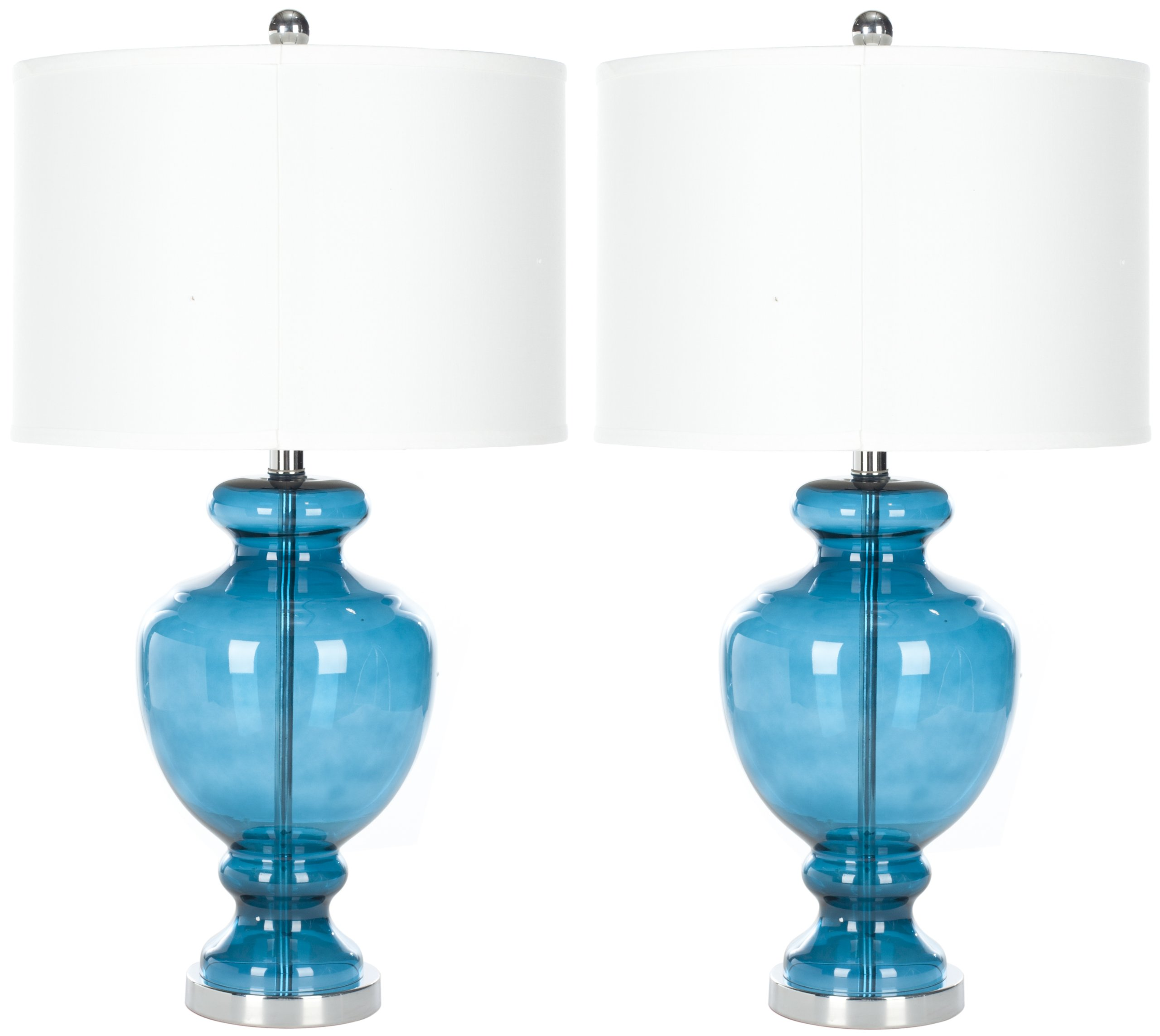 Safavieh Lighting Collection Morocco Blue Glass 28-inch Table Lamp (Set of 2) by Safavieh