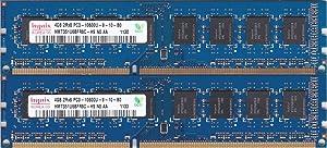 8GB kit, (2 x 4GB) 240-pin DIMM, DDR3 PC3-10600U,Dual Rank, Non ECC ram Memory Module by Hynix (HMT351U6CFR8C-H9)
