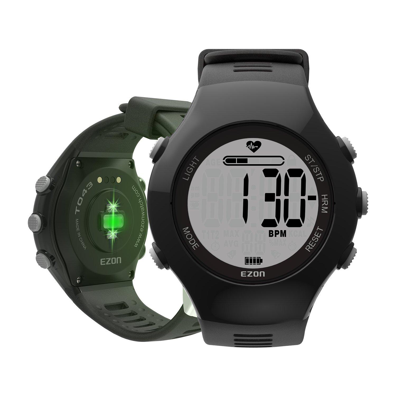 EZON Pulsómetros Digital Deportivo Reloj para Correr Al Aire Libre con Correa para El Pecho, Alarma de Frecuencia Cardíaca, Cronómetro, Alarma Diaria y Calendario