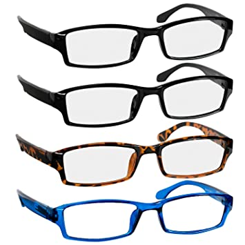434b8d8a3ced Reading Glasses 1.25 2 Black Tortoise Blue Fashion Readers for Men   Women  - Spring Arms