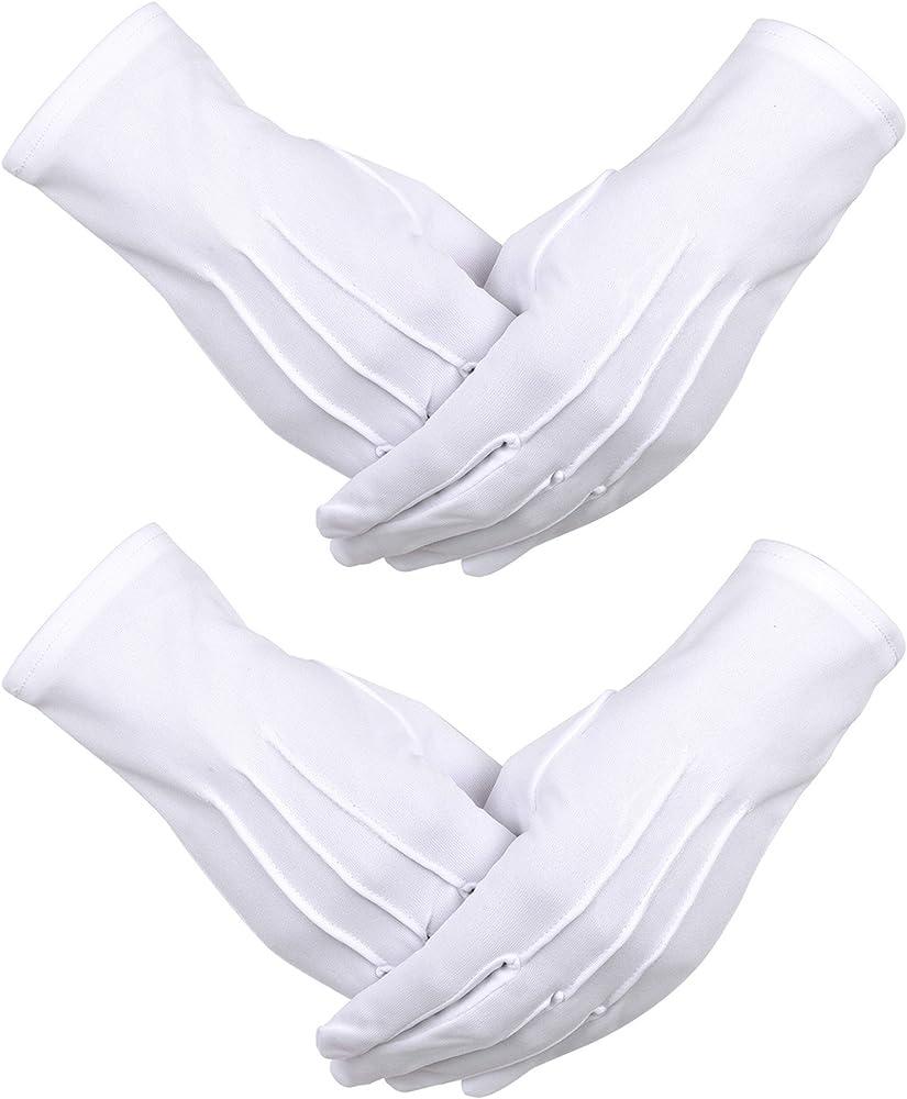 2 Pares de Guantes de Algodón de Nylon Blancos con Cierre de Broche para Policía Formal Tuxedo Honor Guardia Guantes de Disfraz de Desfile, 9, 05 Pulgadas: Amazon.es: Ropa y accesorios