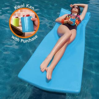 "product image for Texas Recreation Kool Float 1.75"" Thick Swimming Pool Foam Pool Floating Mattress with Bonus Kool Kan, White"