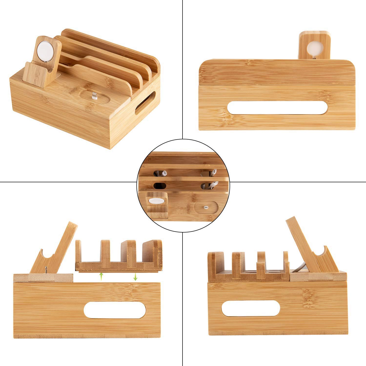 Multiple Device Bamboo Wood Docking Station and Organizer with 5 Port Universal USB Charger Including Watch Stand and airpods Stand. by EPOco