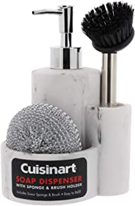 Cuisinart Kitchen Soap Dispenser with Sponge Holder and Brush Holder – Includes Bonus Scour Sponge and Dish Brush – Works with Liquid Hand and Dish Soap, Easy to Refill – Stylish Marble Effect