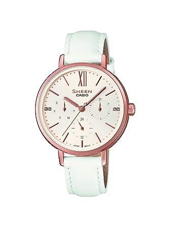 Casio Reloj Analógico para Mujer de Cuarzo con Correa en Cuero SHE-3064PGL-7AUER: Amazon.es: Relojes