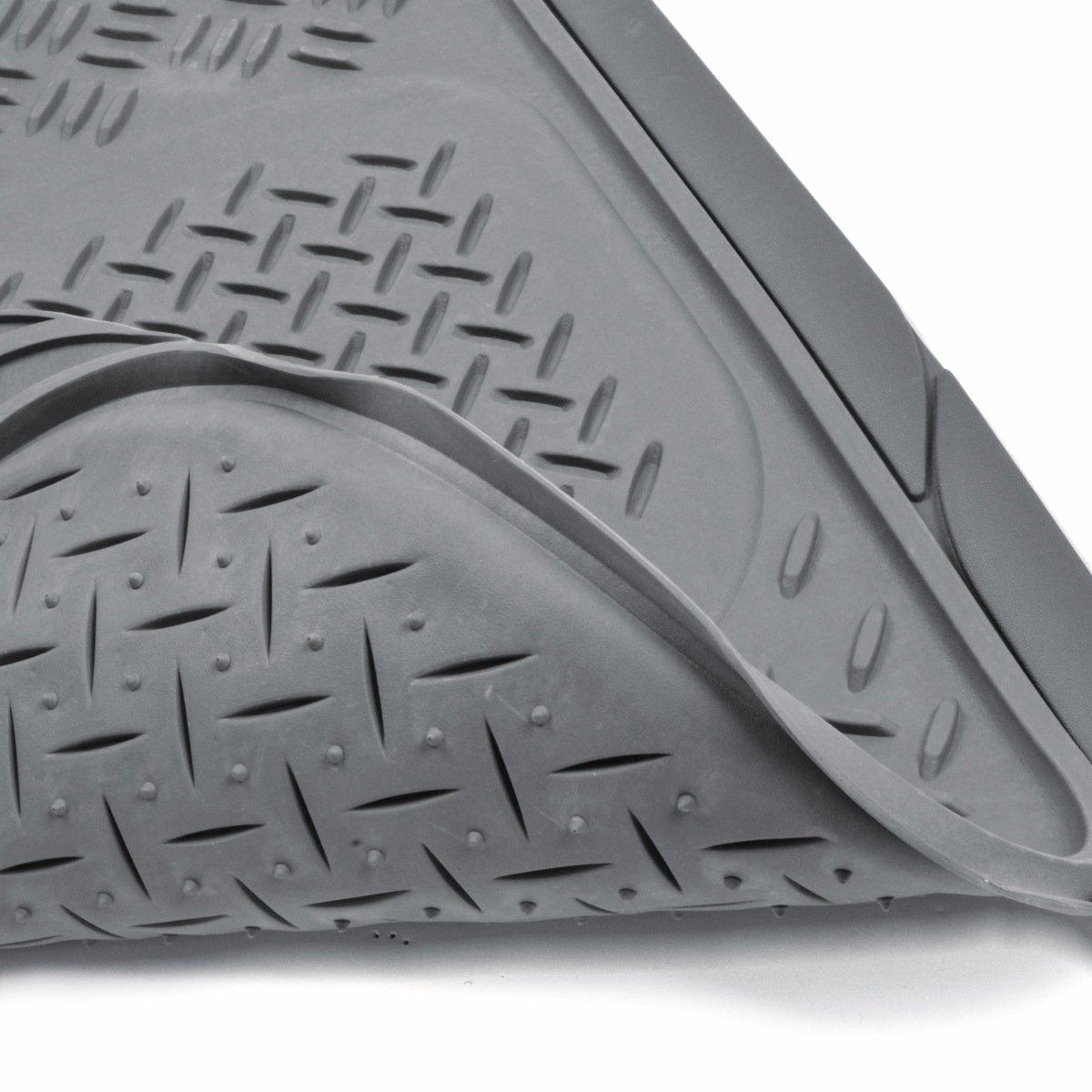 Rubber floor mats minivan - Amazon Com Bdk Heavy Duty Van Suv Rubber Floor Mats 4 Pieces 3 Rows Full Set All Weather Trimmable Mat Gray Automotive