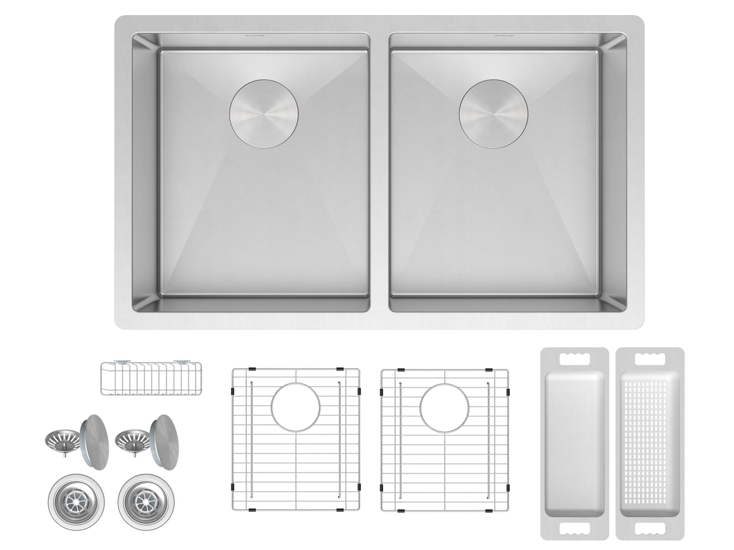 ZUHNE 32 Inch Double Bowl Under Mount 16 Gauge Stainless Kitchen Sink for 36 Inch Cabinet (50/50) by Zuhne