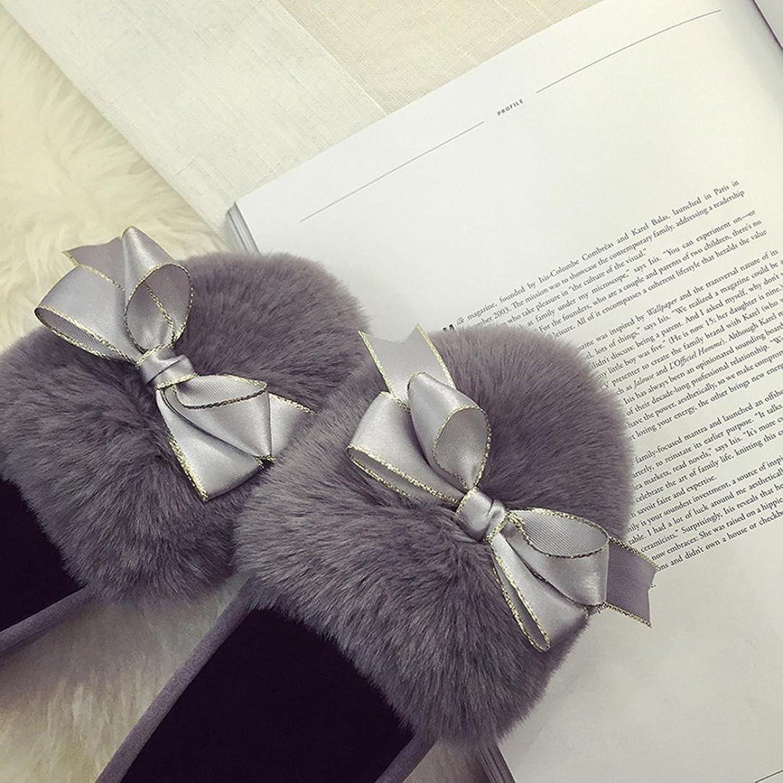 Longra Scarpe nude femminili di svago di bowknot faux peluche nere pattini mocassino-gommino (EU Size:36, Grigio)