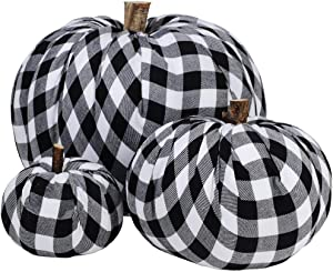 Supla Package of 3 Assorted Burlap Pumpkins Fabric Pumpkins Buffalo Plaid Pumpkins Gingham Fabric Pumpkins Fall Thanksgiving Halloween Seasonal Holiday Farmhouse Tabletop Decoration