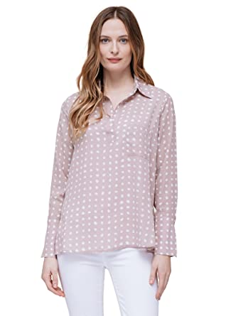 269295432fe7d Amazon.com  Pleione Polka Dot Button up Shirt Blouse  Clothing