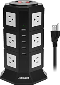 Surge Protector Power Strip Tower JACKYLED 12 AC Outlets 3000W 15A and 5 USB Slots 8A Desktop Smart Universal Charging Station Multiple Protection with Heavy Duty 6.5ft 14 AWG Extension Cord for Home