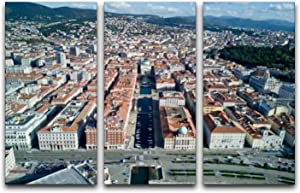 3 Panel Canvas Wall Art Decor Aerial video shooting with drone on Trieste Poster Print On Canvas Artworks for Office Home Living Room Decor with Framed Ready to Hang