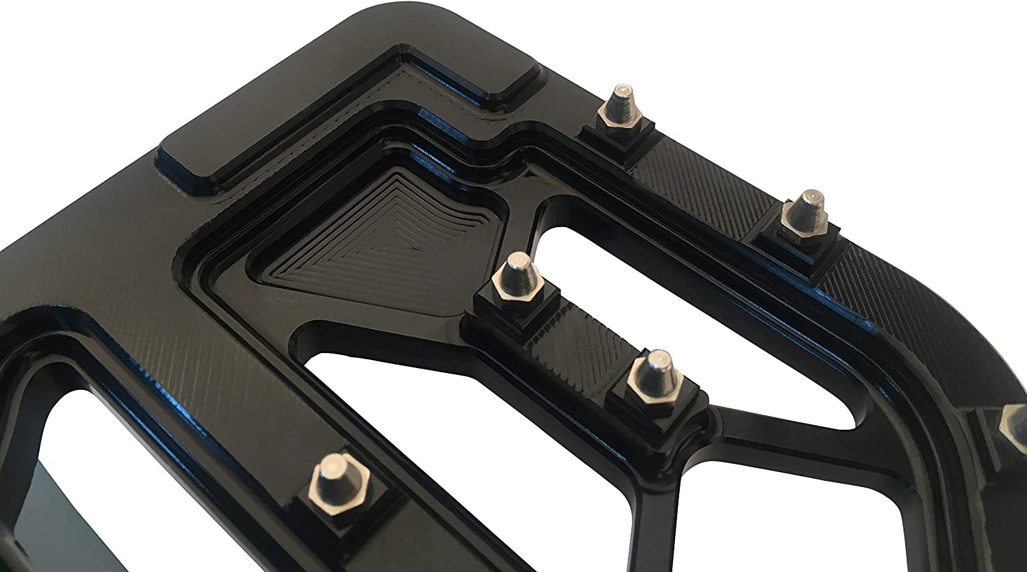 Black Goldfire 1 Pair Wide MX Offroad Chopper Bobber Style Front Driver Bagger Floorboards with Non-Slip Traction for 1983-2019 Harley Touring Motorcycles