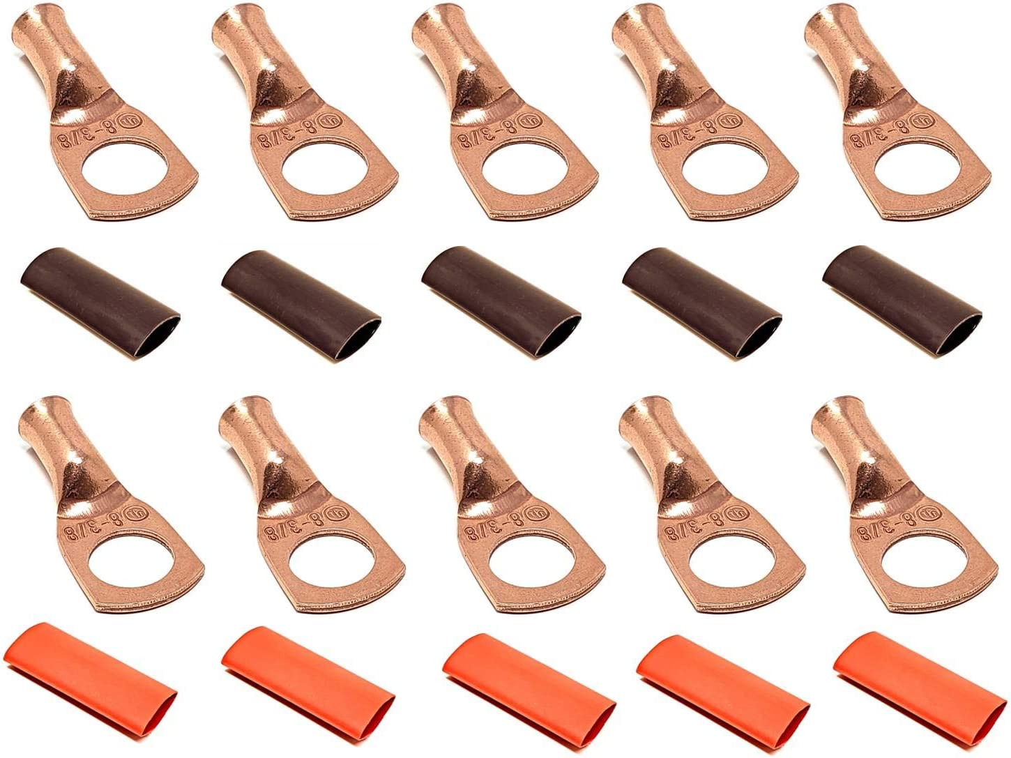 10pcs 8 Gauge 8 AWG x 3/8 Pure Copper UL Listed Cable Lug Terminal Ring Connectors with Dual Wall Adhesive Lined Red + Black Heat Shrink Tubing – by WNI 71M7tge%2BQTL