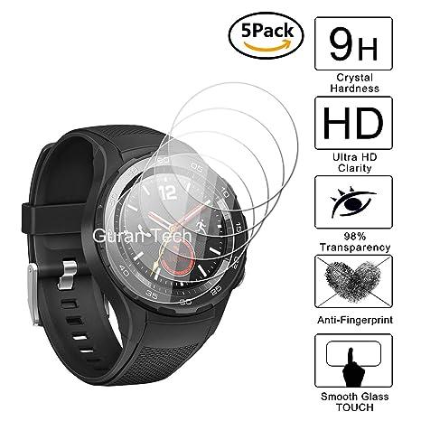 Guran [5-Unidades] Protector de Pantalla Vidrio Cristal Templado para Huawei Watch 2 (4G/LTE) Smartwatch Cristal Vidrio Templado Film (9H, 2.5D Edge, ...