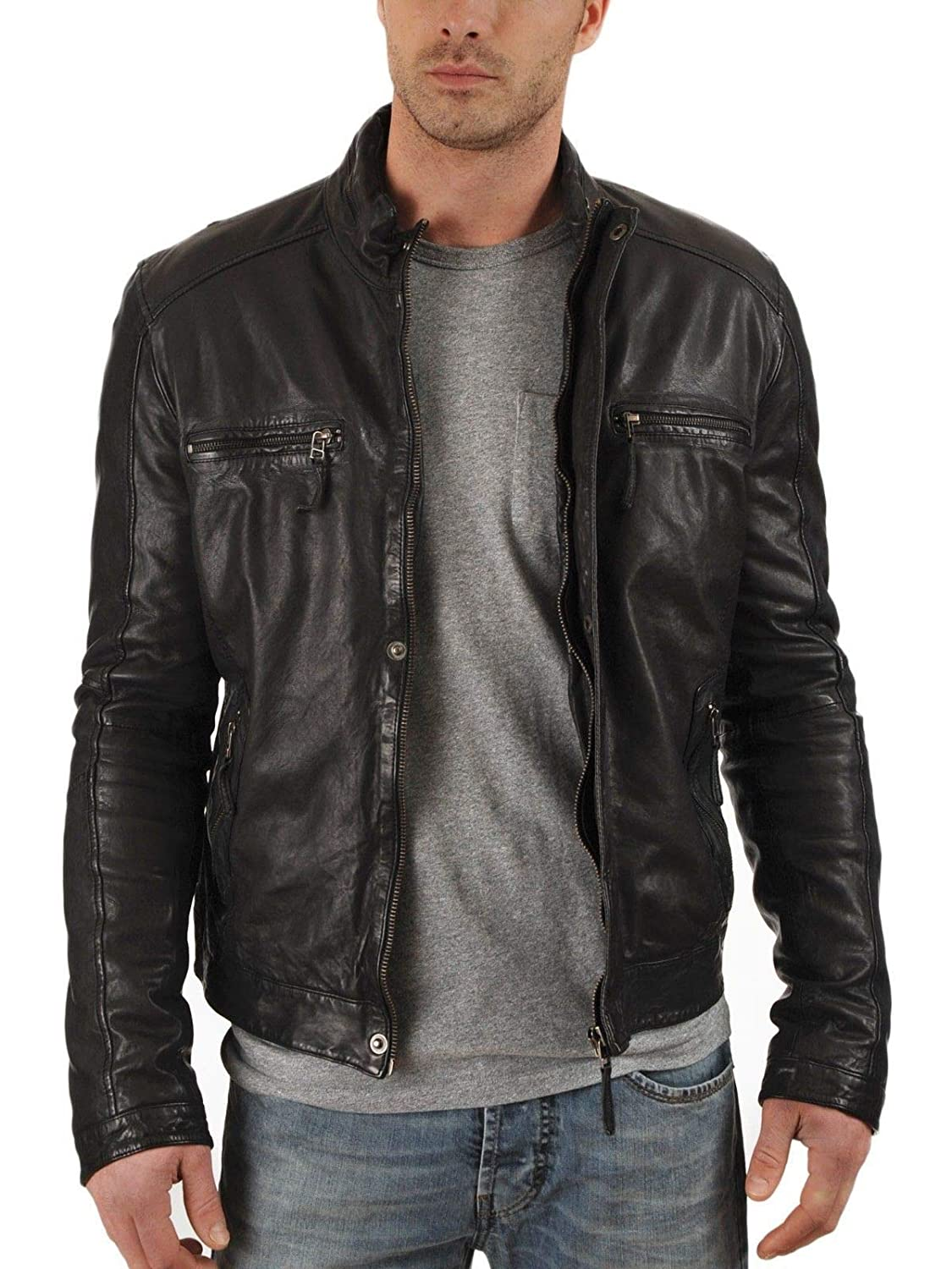 brandMe Mens Genuine Leather Pure Lambskin Biker Jacket MM94